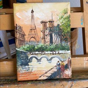 "Original Eiffel Tower French Painting 5"" x 7"""